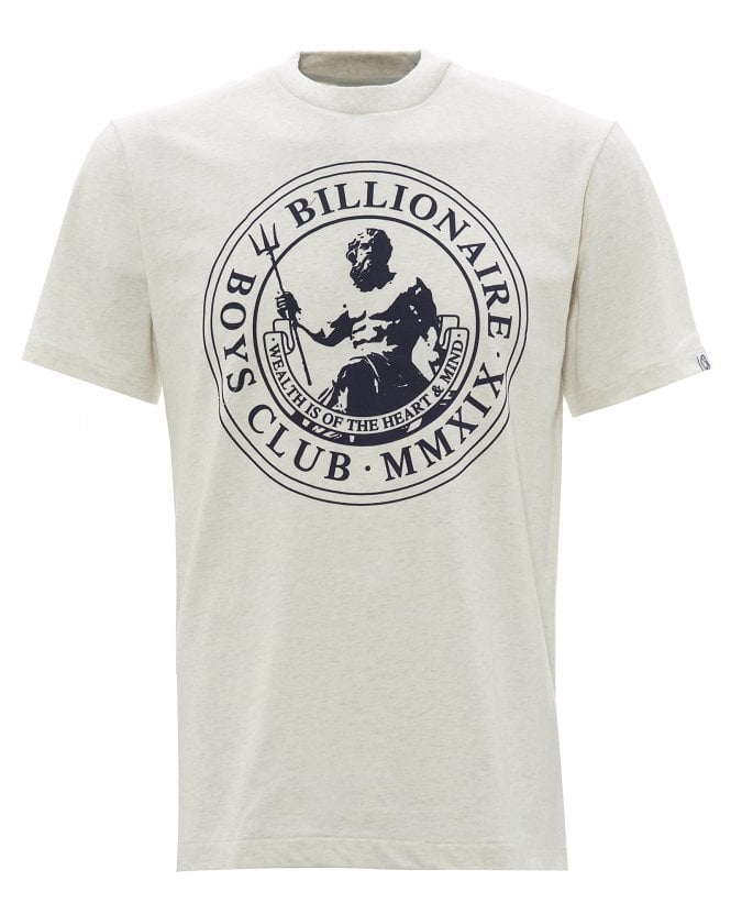 Billionaire Boys Club Mens Flock Print Poseidon T-Shirt, White Marl Tee