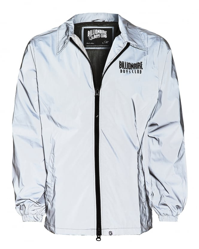 Billionaire Boys Club Mens Front And Back Logo Jacket, Reflective Grey Jacket