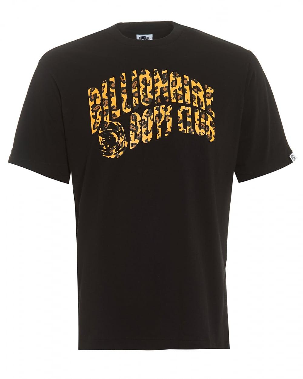 Mens Leopard Arch Logo T Shirt Graphic Black Tee