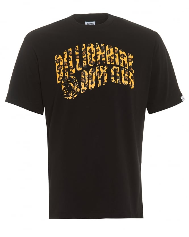 Billionaire Boys Club Mens Leopard Arch Logo T-Shirt, Graphic Black Tee