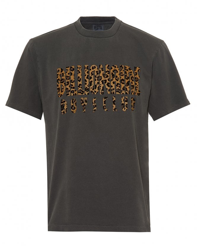 Billionaire Boys Club Mens Leopard Fill Logo T-Shirt, Black Grey Tee