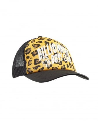 Mens Leopard Yellow Print Black Trucker Cap