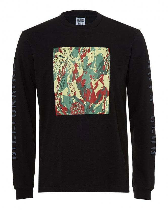 Billionaire Boys Club Mens Lizard Camo Tile T-Shirt, Long Sleeve Black Tee