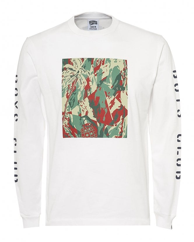 Billionaire Boys Club Mens Lizard Camo Tile T-Shirt, Long Sleeve White Tee