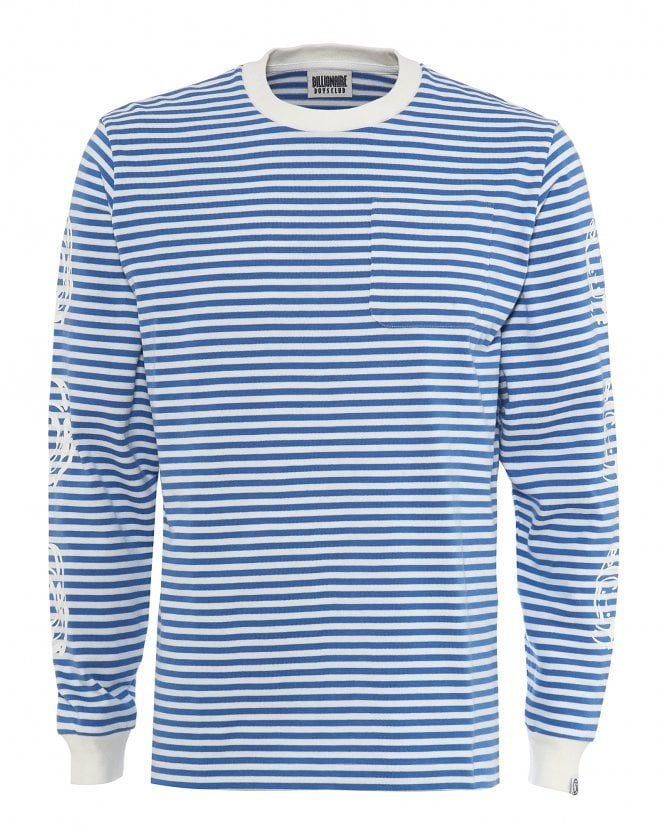 Billionaire Boys Club Mens Long Sleeved Striped T-Shirt, Astronaut Sleeve Tee