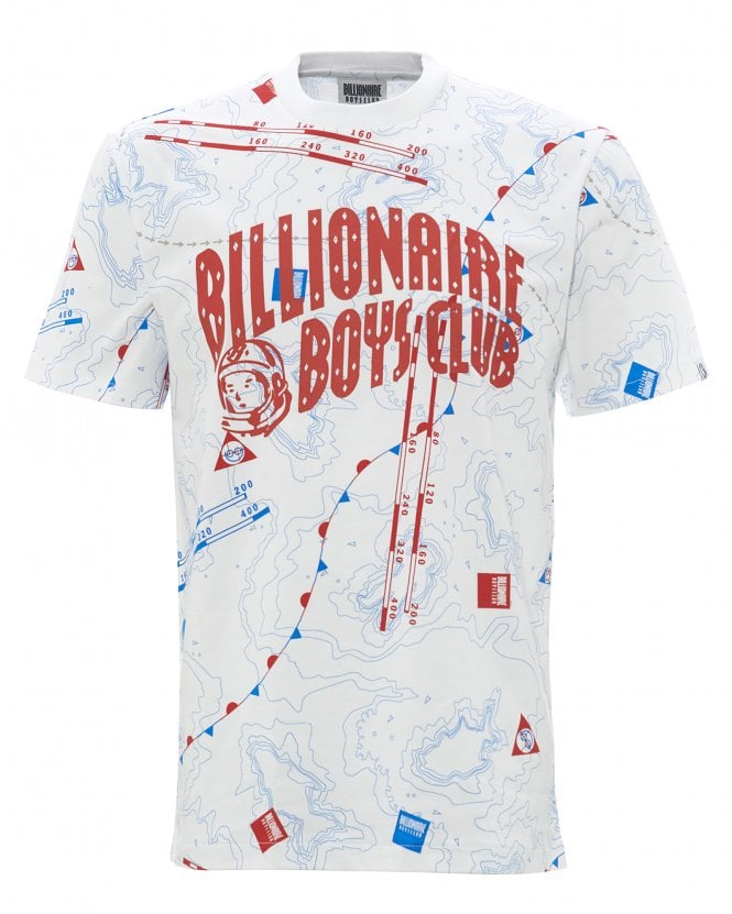 Billionaire Boys Club Mens Nautical Print T-Shirt, White Logo Tee