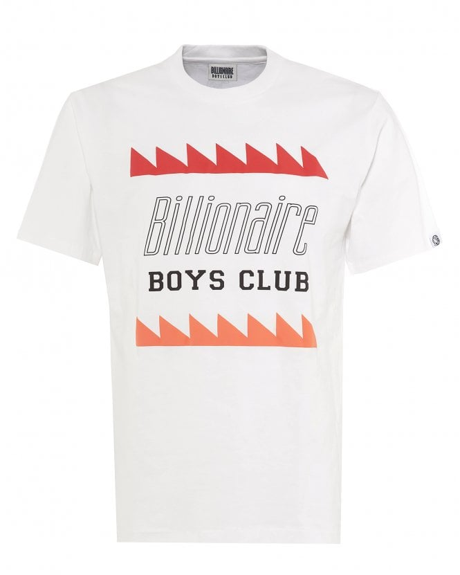 Billionaire Boys Club Mens Oscillating Logo T-Shirt, White Print Tee