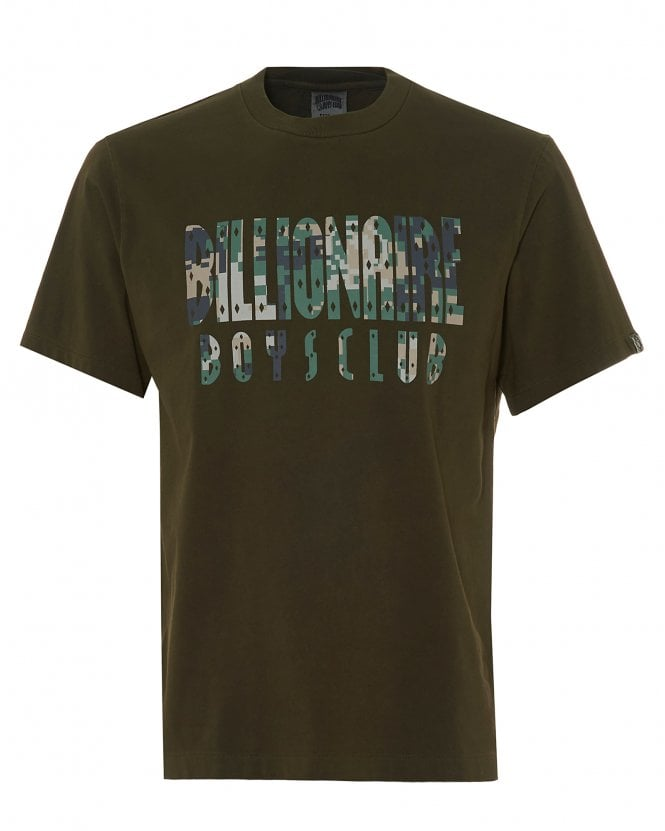 Billionaire Boys Club Mens Overdye Digi Camo T-Shirt, Olive Green Tee