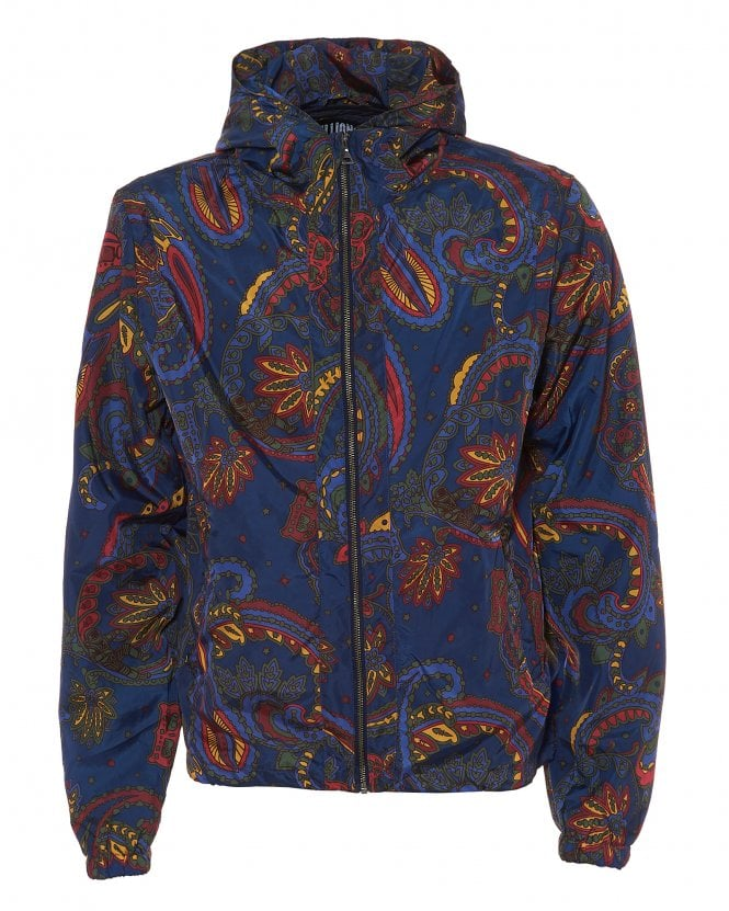 Billionaire Boys Club Mens Paisley Nylon Shell Blue Hooded Jacket