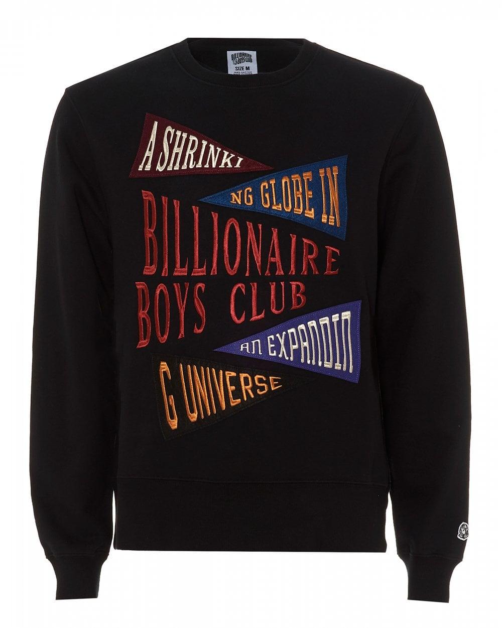 14a75cba Billionaire Boys Club Mens Pennant Applique Black Crew Sweatshirt