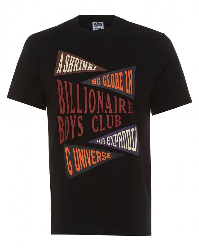 Billionaire Boys Club Mens Pennant Print T-Shirt, Black Tee