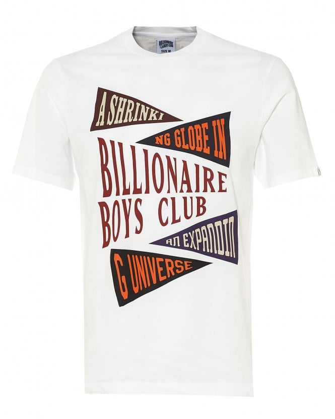 Billionaire Boys Club Mens Pennant Print T-Shirt, White Tee