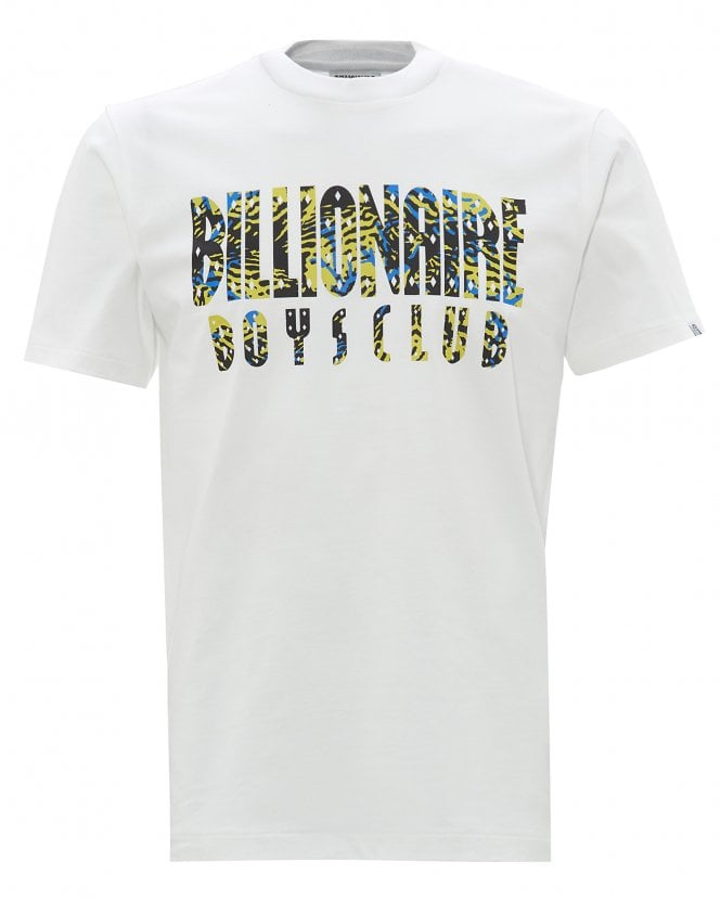 Billionaire Boys Club Mens Pigment Dyed Fish Camo T-Shirt, White Tee