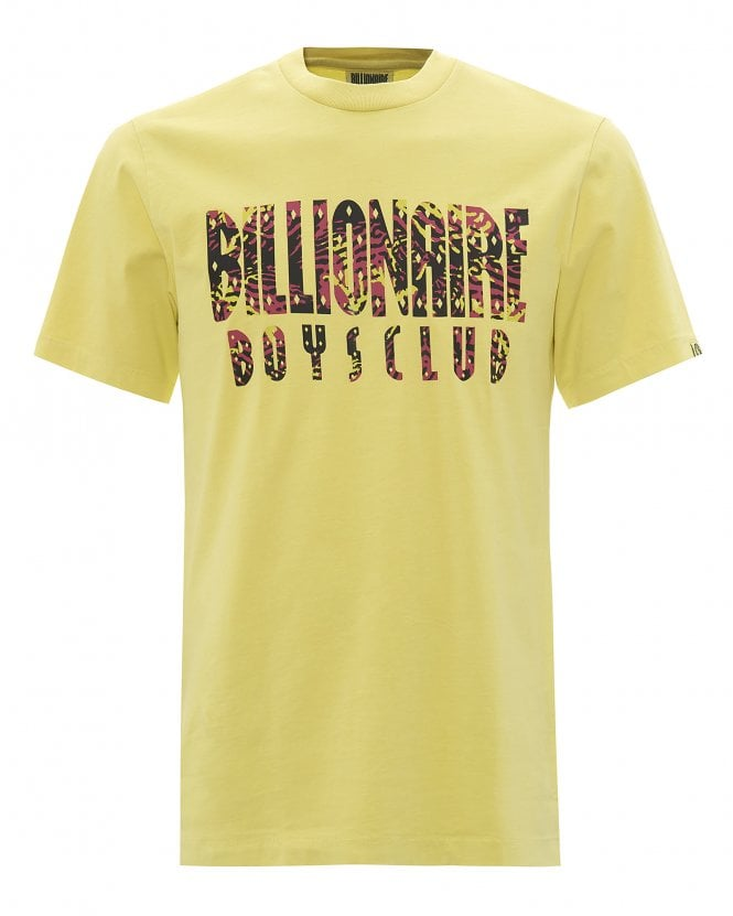 Billionaire Boys Club Mens Pigment Dyed Fish Camo T-Shirt, Yellow Tee
