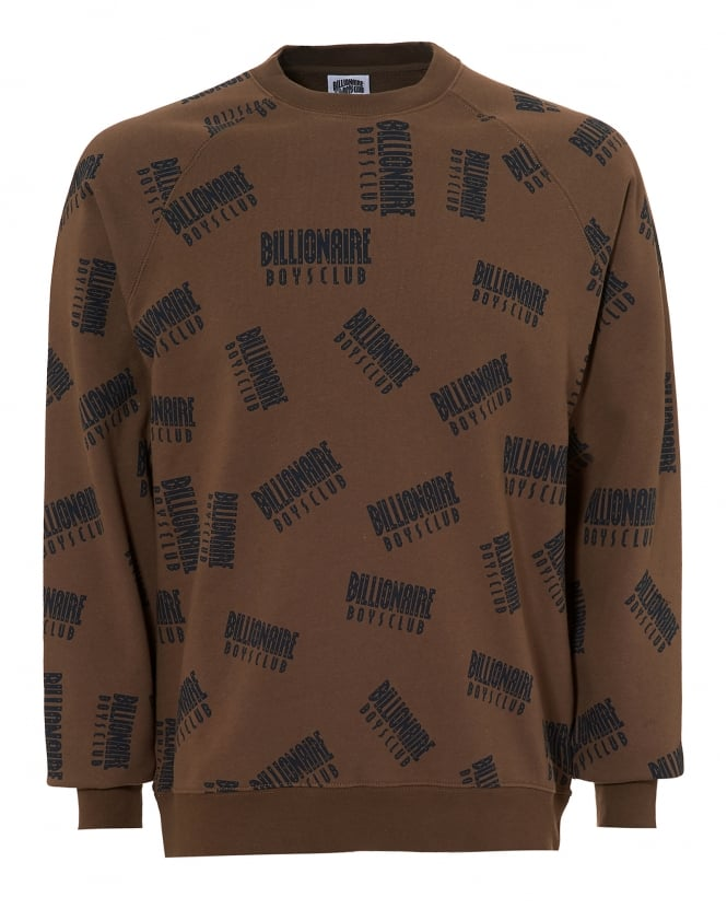 Billionaire Boys Club Mens Repeat Print Sweat, Crew Neck Taupe Jumper