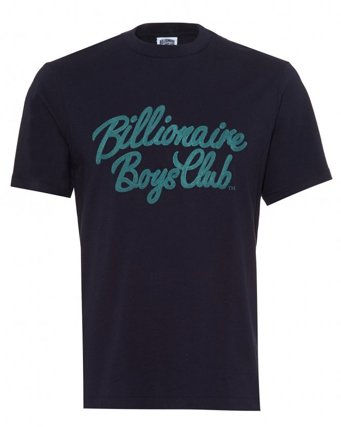 Billionaire Boys Club Mens Script T-Shirt, Regular Fit Navy Blue Tee