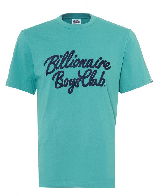 Billionaire Boys Club Mens Script T-Shirt, Regular Fit Teal Blue Tee