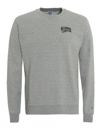 Mens Small Arch Logo Sweat, Crew Neck Grey Sweatshirt