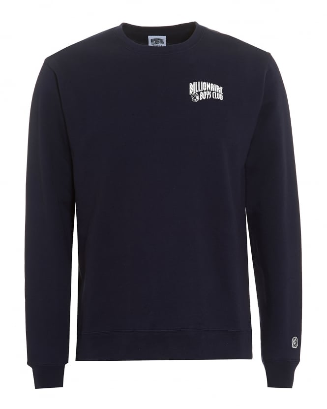 Billionaire Boys Club Mens Small Arch Logo Sweat, Crew Neck Navy Sweatshirt