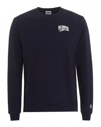Mens Small Arch Logo Sweat, Crew Neck Navy Sweatshirt