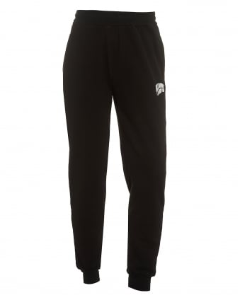 Mens Small Arch Logo Trackpants, Cuffed Black Sweatpants