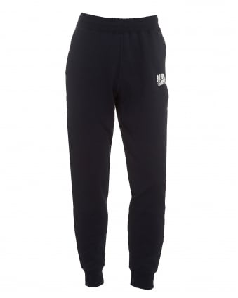 Mens Small Arch Logo Trackpants, Cuffed Navy Sweatpants
