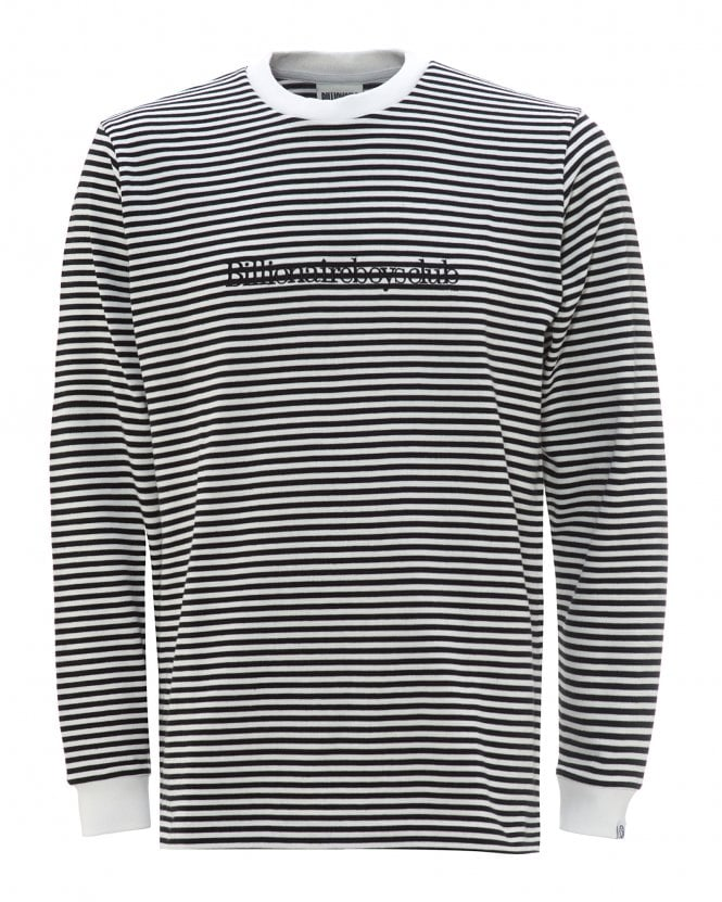 Billionaire Boys Club Mens Small Stripe T-Shirt, Black & White Tee