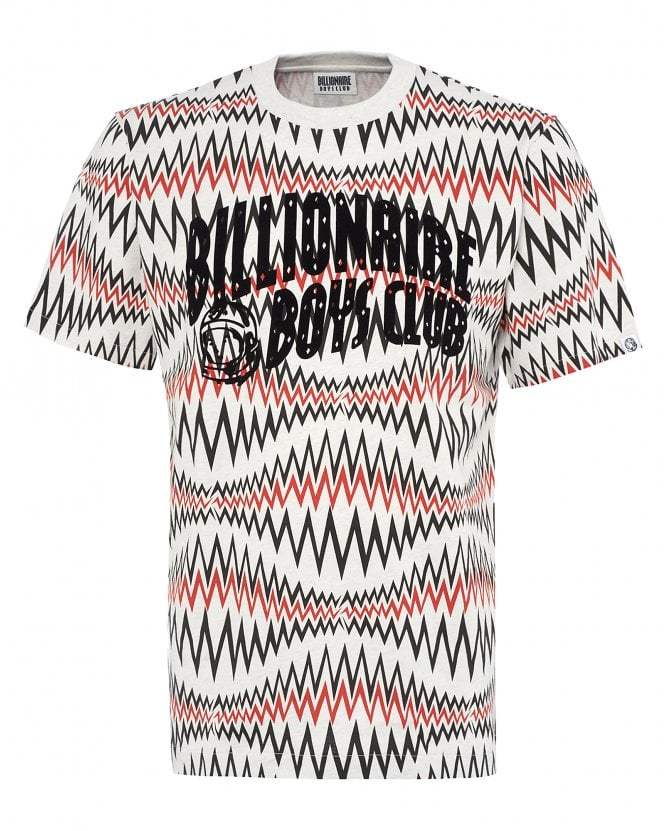Billionaire Boys Club Mens Sound Wave T-Shirt, White Marl Tee