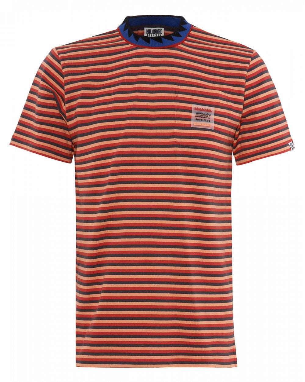48c310fb Billionaire Boys Club Mens Striped Pocket T-Shirt, Red Striped Tee