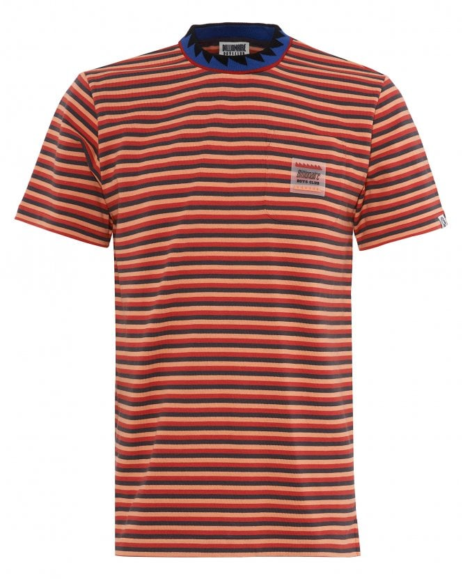 Billionaire Boys Club Mens Striped Pocket T-Shirt, Red Striped Tee