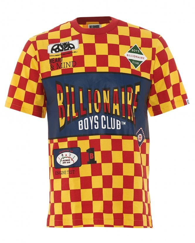 Billionaire Boys Club Mens Track Team T-Shirt, Red Yellow Checked Tee