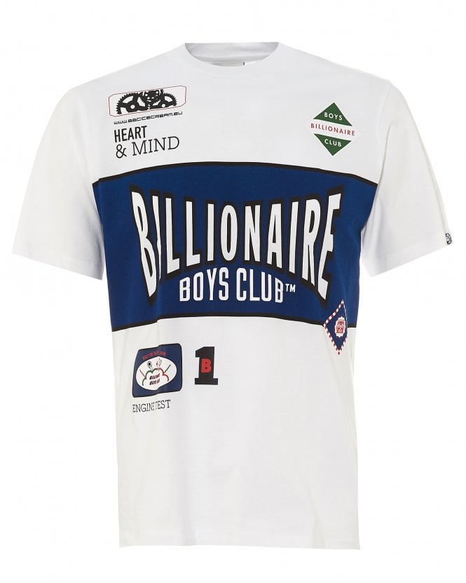 Billionaire Boys Club Mens Track Team T-Shirt, White Tee