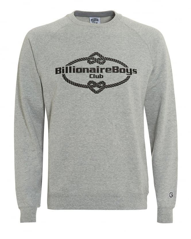 Billionaire Boys Club Mens Wreath Knot Sweatshirt, Grey Crew Neck Sweat