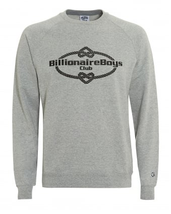 Mens Wreath Knot Sweatshirt, Grey Crew Neck Sweat