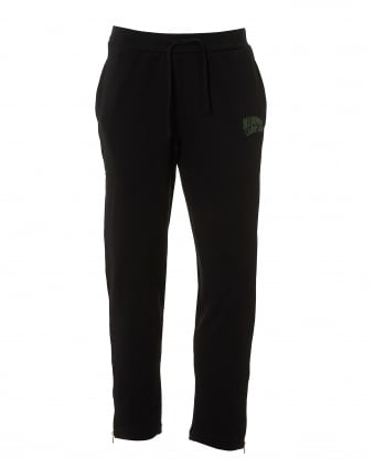 Mens Zip Cuff Trackpants, Pocket Lined Black Sweatpants