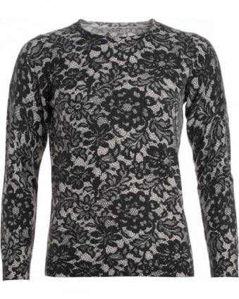 Black/Alabaster Lace Crew Neck Jumper