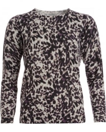 Black And Grey Animal Print Crew Neck Jumper