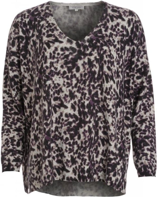 Cocoa Cashmere Black And Grey Animal Print Loose Fit Jumper