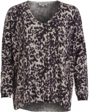 Black And Grey Animal Print Loose Fit Jumper