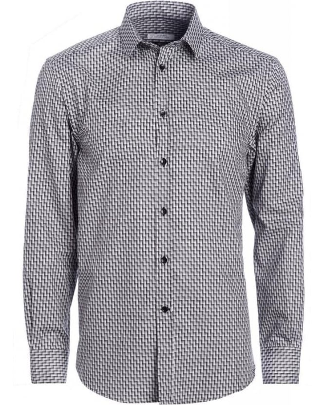 Versace Collection Black and White Geometric Shirt