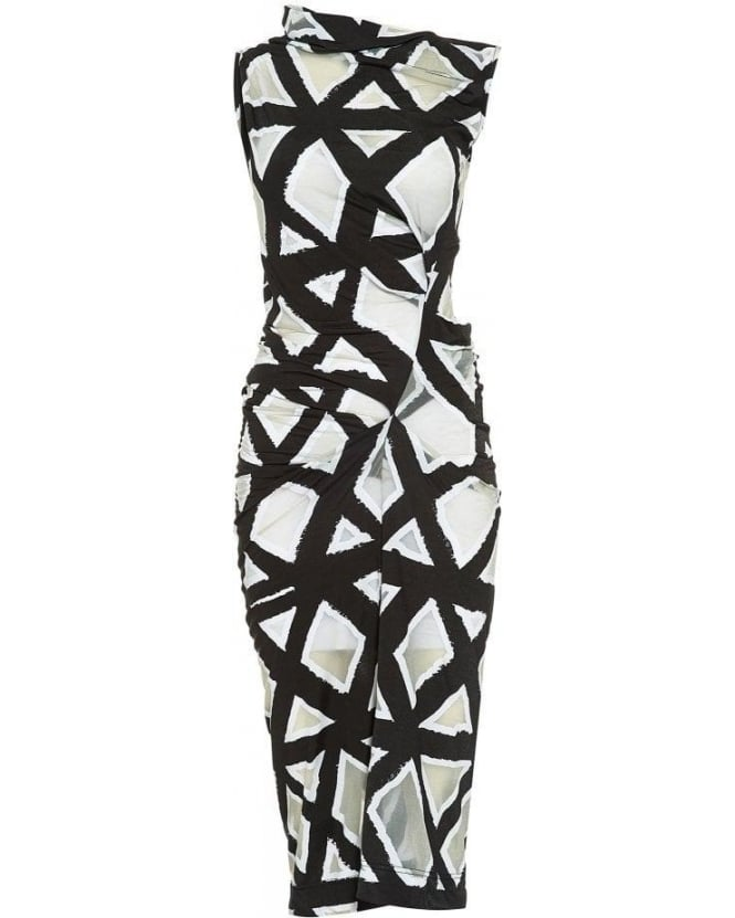 Vivienne Westwood Anglomania Black and White Geometric Taxa Dress