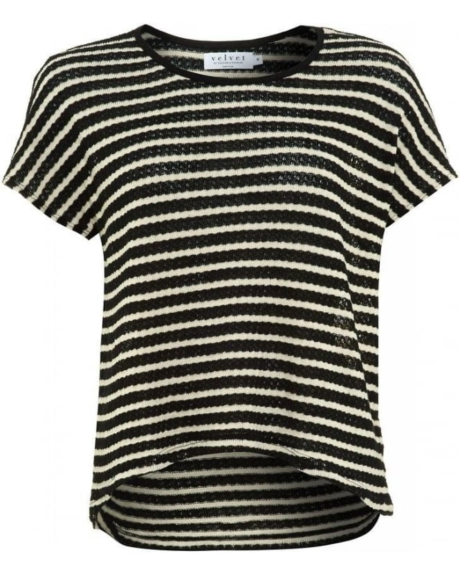 Velvet by Graham & Spencer Black And White Popcorn Stripe Greer 02 Top