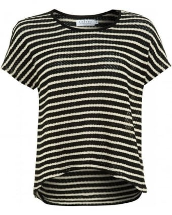 Black And White Popcorn Stripe Greer 02 Top