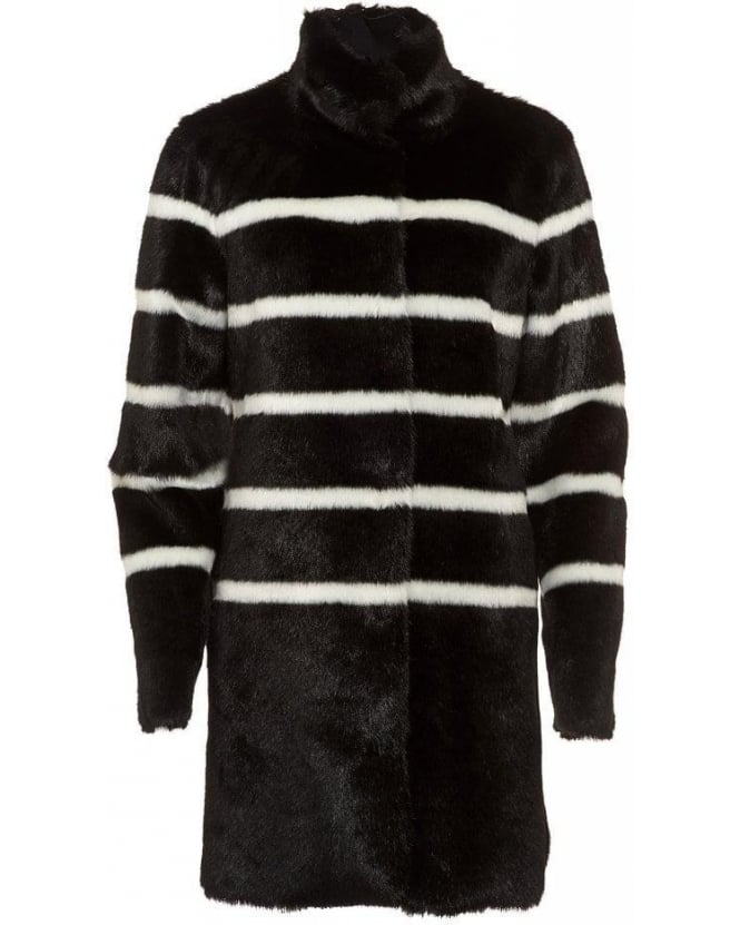 Armani Jeans Black and White Stripe Fur Coat