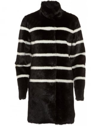 Black and White Stripe Fur Coat