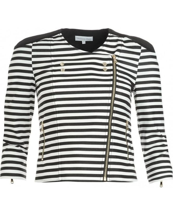 Patrizia Pepe Black And White Striped Military Jacket