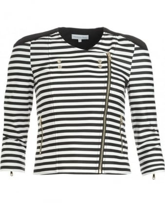 Black And White Striped Military Jacket