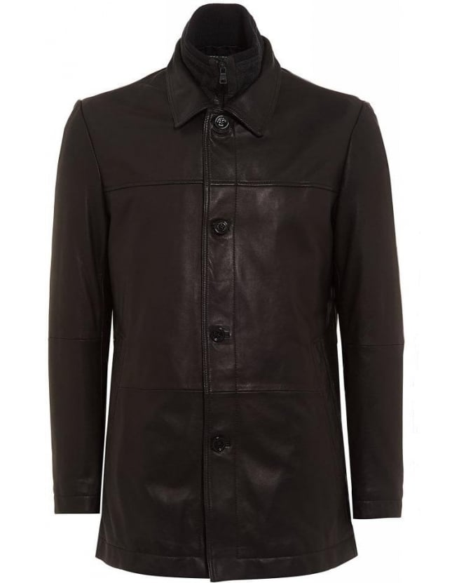 Hugo Boss Black Black Armon Leather Jacket with Detachable Insert