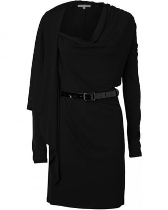 Black Cape Sleeve Belted Crepe Dress