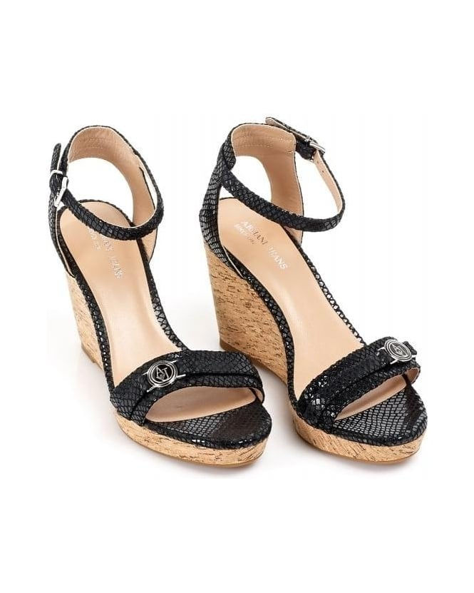 Armani Jeans Black Cork Wedge Sandals